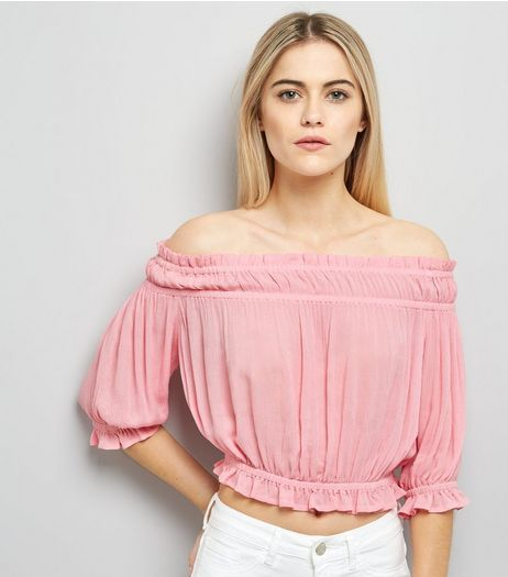 Bright Pink Bardot Neck Top  | New Look