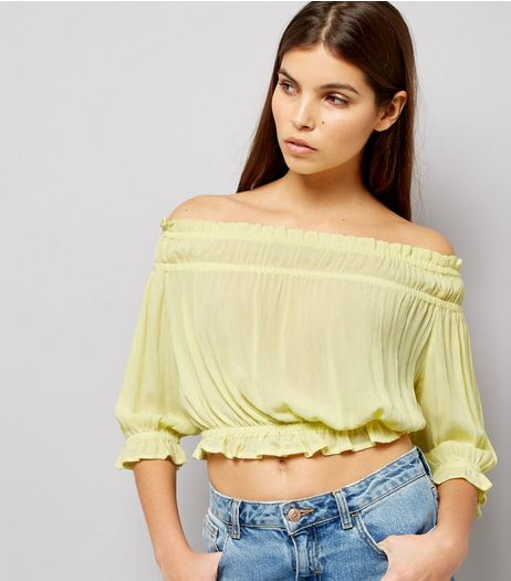 Yellow Shirred Bardot Neck Top  | New Look