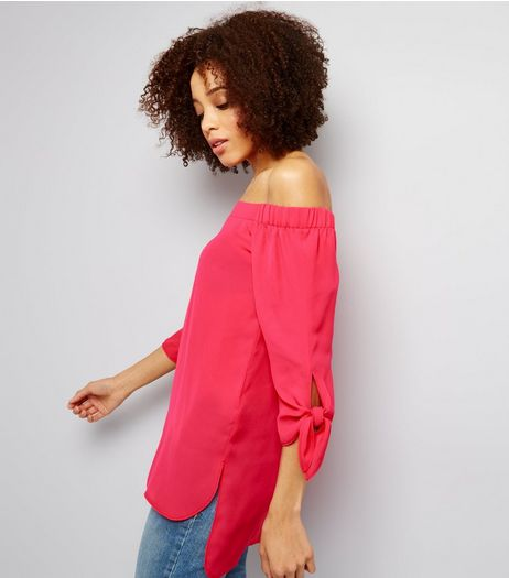 Pink Tie Sleeve Bardot Top | New Look