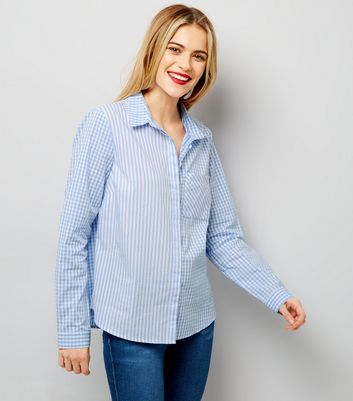 Blue Stripe and Gingham Print Shirt
