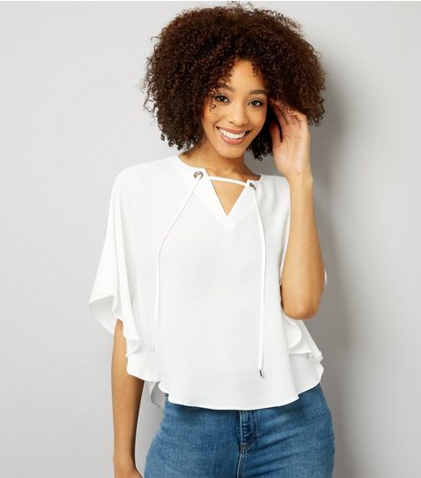White Eyelet Trim Tie Front Cape Top  | New Look