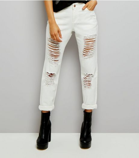 Urban Bliss White Ripped Boyfriend Jeans  | New Look