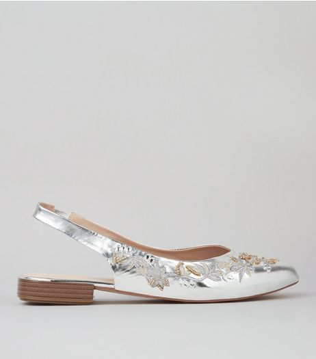 Silver Metallic Embroidered Sling Back Pumps | New Look