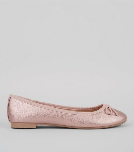 Pink Metallic Ballerina Pumps | New Look