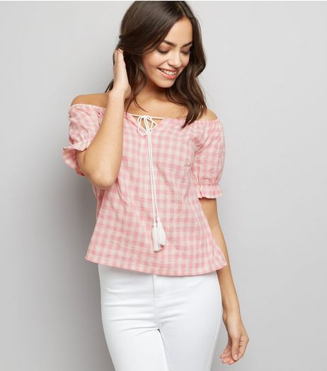 Parisian Pink Gingham Tie Front Bardot Top | New Look