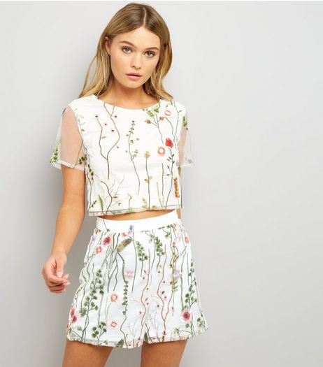 Parisian White Floral Mesh Crop Top  | New Look