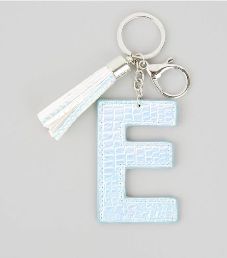 Silver Holographic Snakeskin Texture Initial E Keyring | New Look