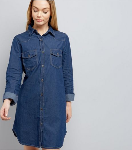 Blue Vanilla Blue Denim Shirt Dress | New Look