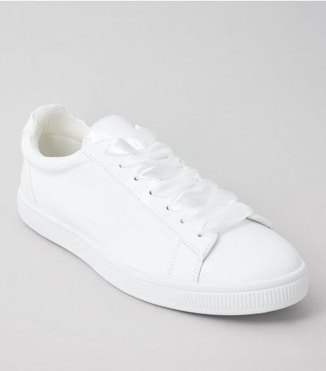 White Patent Ribbon Lace Trainers | New Look