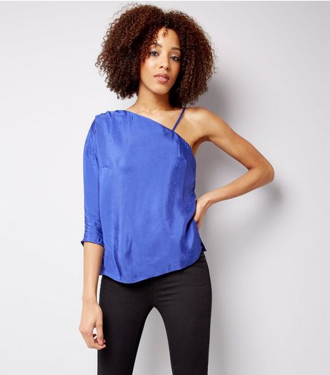 Purple Textured Spot One Shoulder Top | New Look
