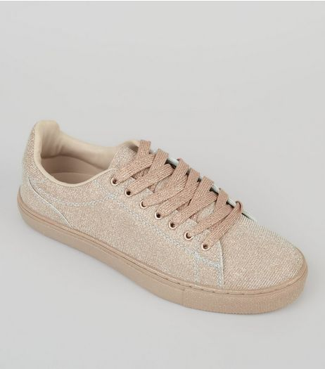 Rose Gold Shimmer Trainers | New Look