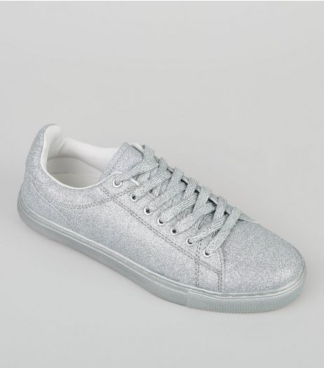 Silver Glitter Trainers | New Look