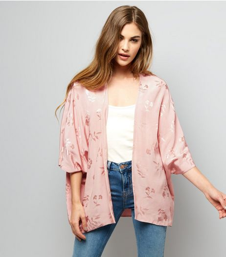 Shell Pink Floral Jacquard Kimono  | New Look