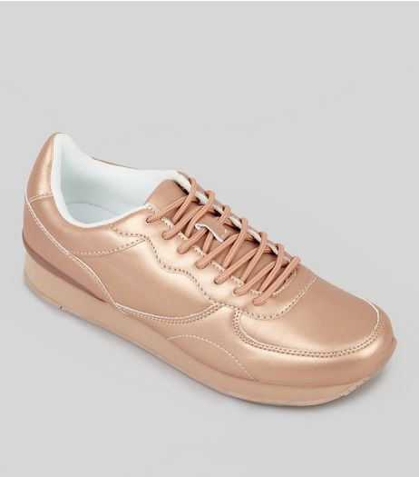 Rose Gold Metallic Trainers | New Look