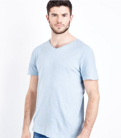 Pale Blue Raw Edge V Neck T-Shirt | New Look