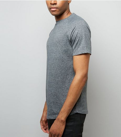 Grey Marl Short Raglan Sleeve T-Shirt | New Look