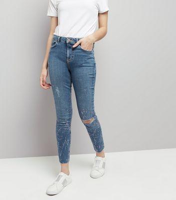 Blue Glitter Print Skinny Jenna Jeans