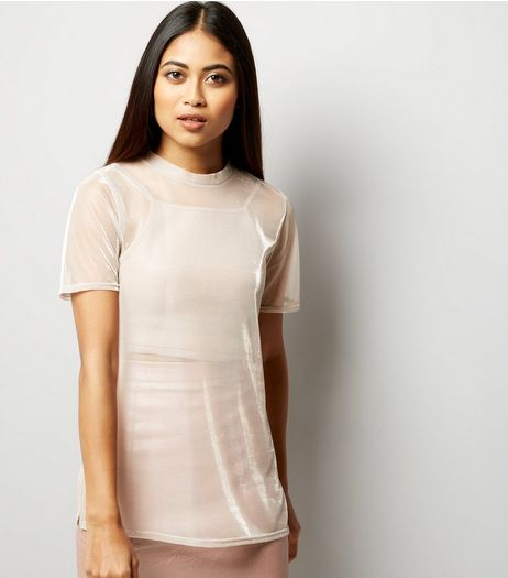 Petite Pink Mesh Metallic Boyfriend T-Shirt | New Look