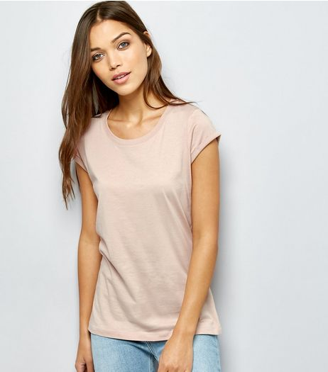 Shell Pink Rolled Sleeve T-Shirt | New Look