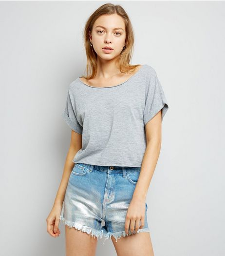 Blue Foil Print Denim Mom Shorts  | New Look