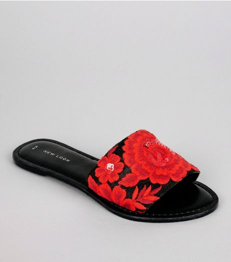 Black Floral Embroidered Sequin Mules | New Look