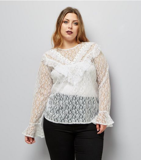 Curves White Lace Studded Frill Trim Top | New Look