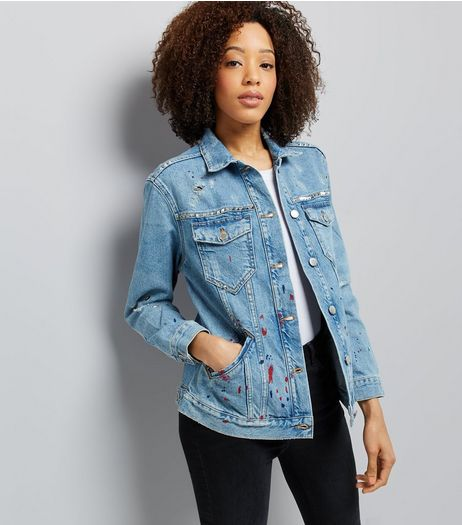 Blue Splattered Eyelet Detail Distressed Denim Jacket | New Look