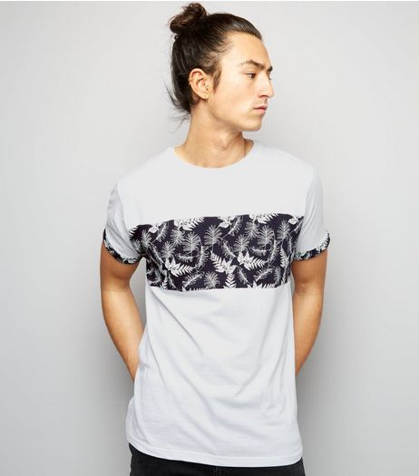 White Leaf Panel T-Shirt | New Look