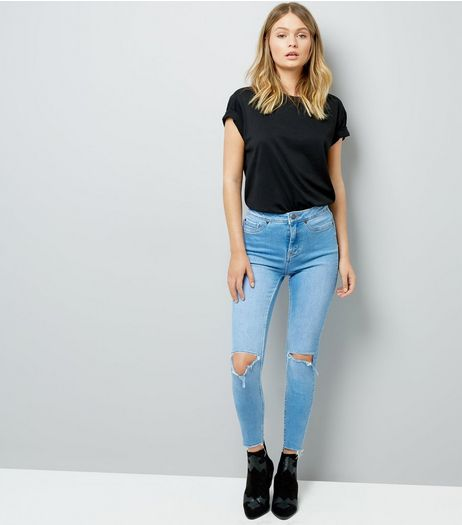 Blue Ripped Knee Skinny Hallie Jeans | New Look