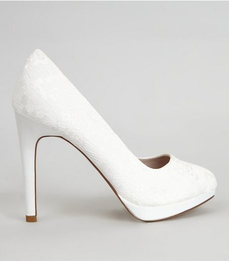 White Lace Court Shoes  | New Look