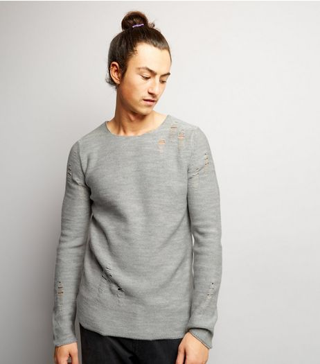 Grey Laddered Crew Neck Jumper | New Look
