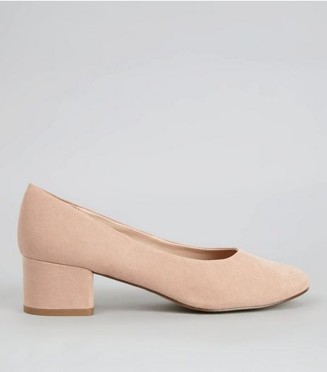 Nude Suedette Low Block Heels | New Look