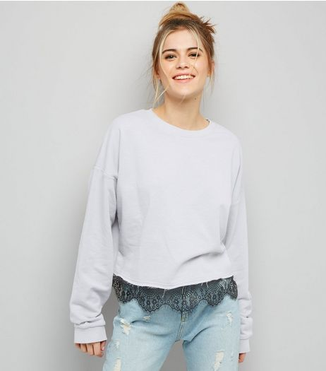Pale Grey Lace Hem Sweater | New Look