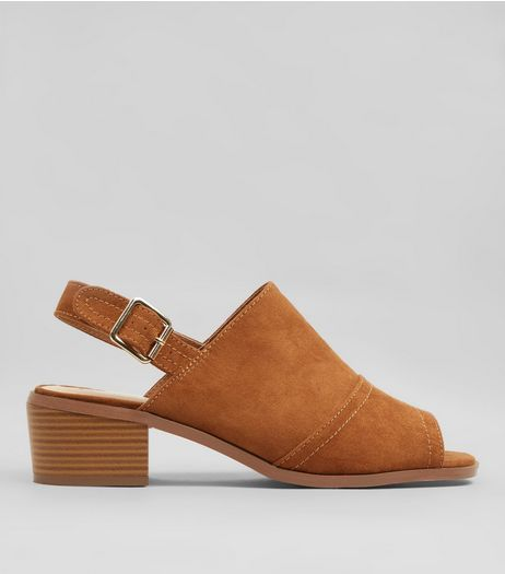 Tan Suedette Slingback Low Block Heels | New Look