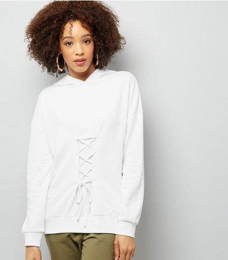 White Lace Up Longline Hoodie | New Look