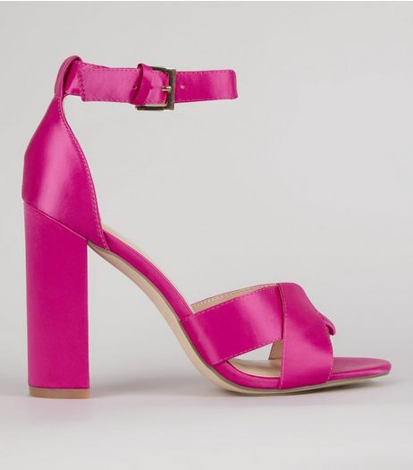 Pink Satin Cross Strap Block Heels | New Look