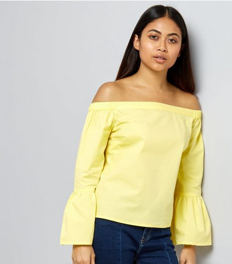 Petite Yellow Bell Sleeve Bardot Neck Top  | New Look