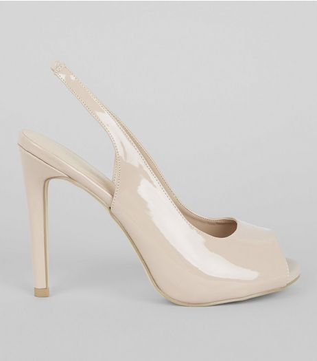 Nude Pink Patent Sling Back Peep Toe Heels | New Look