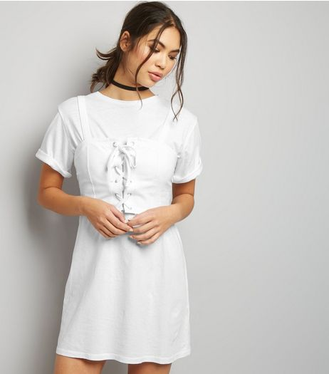 White 2 in 1 Corset T-Shirt Dress   | New Look