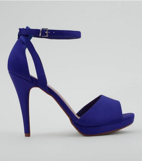 Blue Comfort Satin Platform Heels | New Look