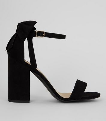 Black Suedette Bow Back Heeled Sandals | New Look