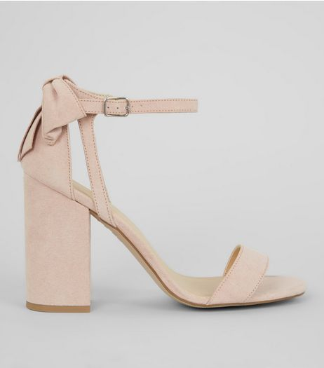 Pink Suedette Bow Back Heeled Sandals | New Look
