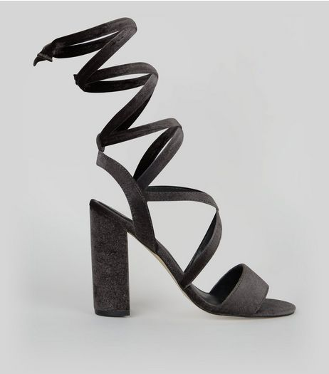 Black Velvet Ankle Tie Heeled Sandals | New Look