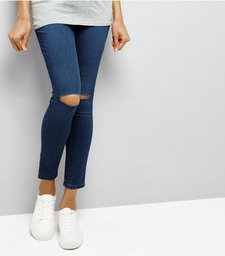 Maternity Blue Ripped Knee Over Bump Jeggings | New Look
