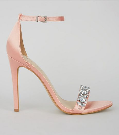 Pink Satin Crystal Embellished Heeled Sandals | New Look