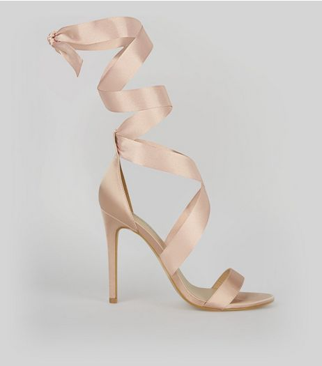 Pale Pink Satin Ribbon Tie Heels | New Look