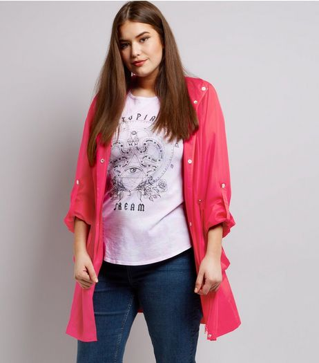 Curves Bright Pink Anorak | New Look