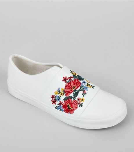 White Floral Embroidered Plimsolls | New Look
