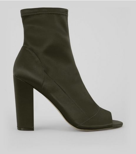 Khaki Satin Peep Toe Heeled Boots | New Look