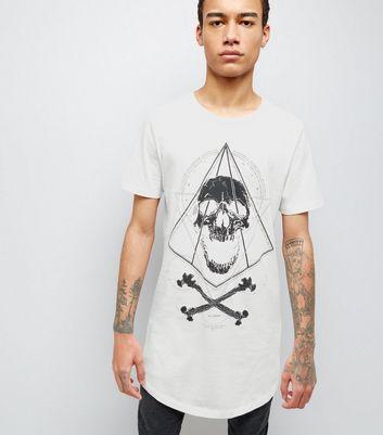White Skull Print Longline T-Shirt